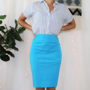 Banana Republic Blue Stretch Pencil Skirt